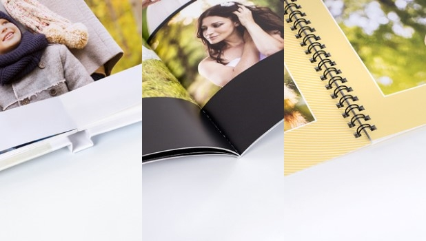 Photobooks with a flat lying, glued or spiral binding