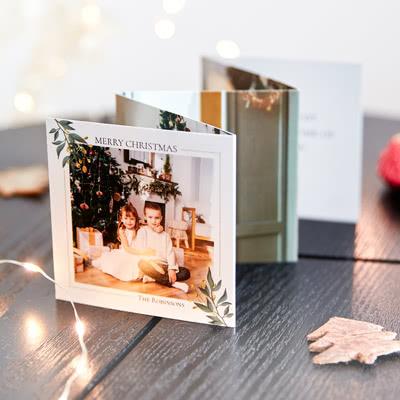 Zigzag fotokaartje Vierkant (Set van 12) Wit lint