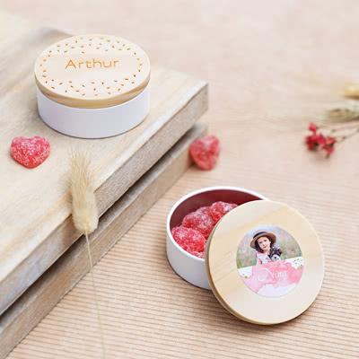 Geschenkdoosjes met houten deksel en sticker (set van 12)