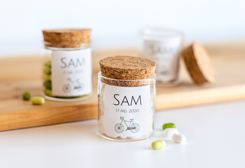Glass jars with cork lid