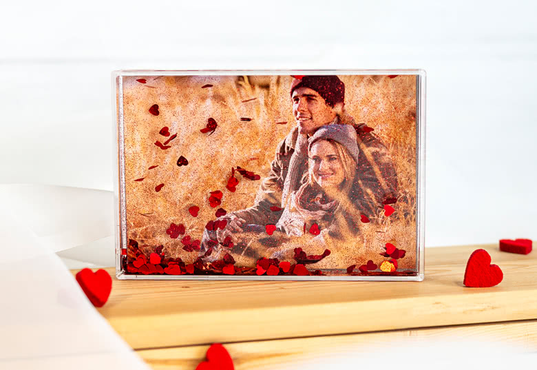 Acrylic frame filled with glitter