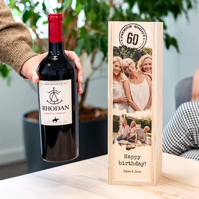 Wijnkistje met Rhodan Cabernet-Merlot