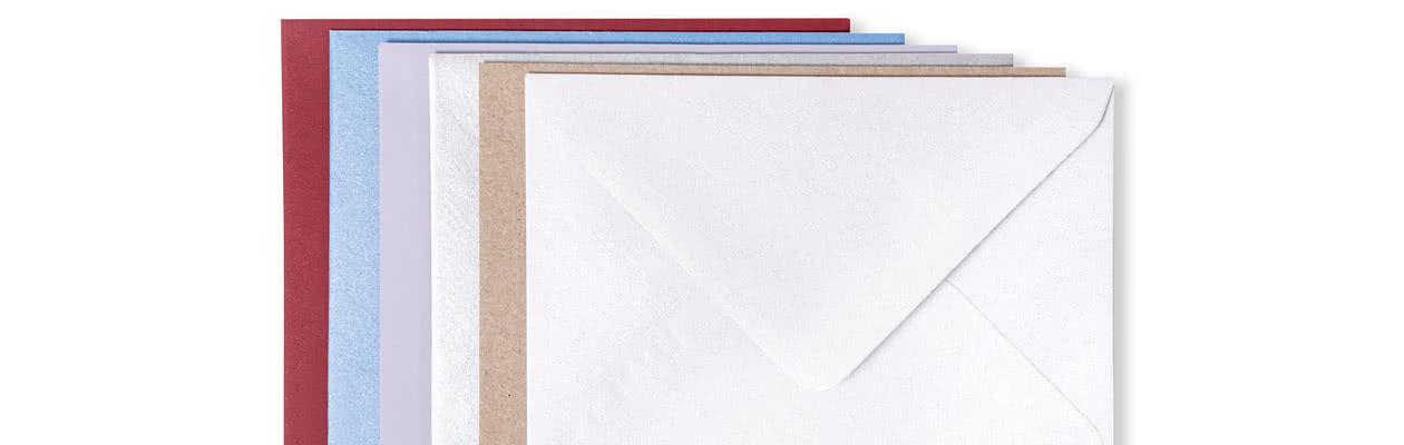 Choose to send your personalised Two-Piece Cards in a beautiful coloured envelope