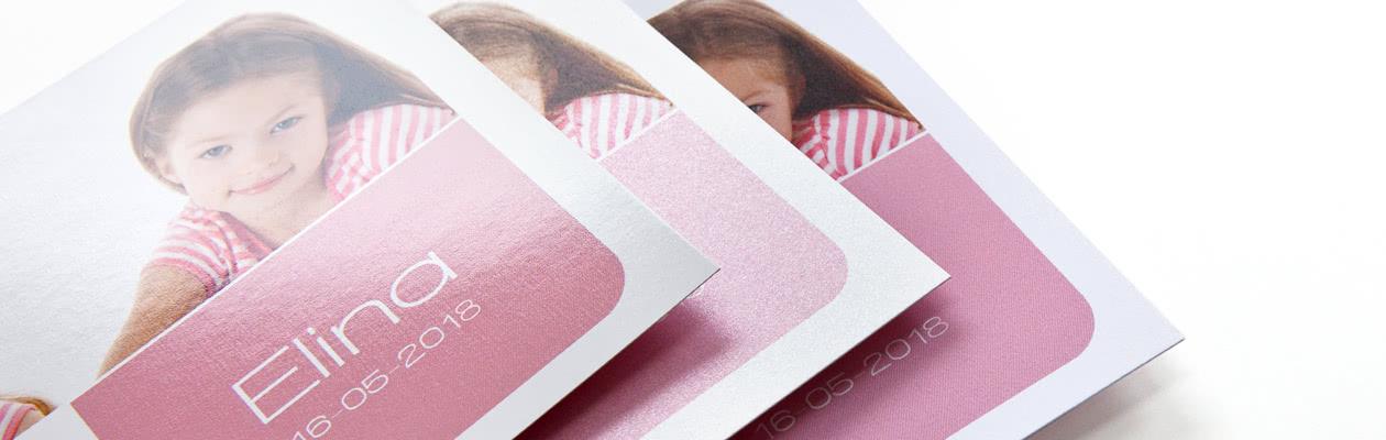 Geef jouw Fotokaart een extra feestelijk tintje of een moderne en trendy look door voor Luxe Parelmoer of Mat afgewerkt papier te kiezen