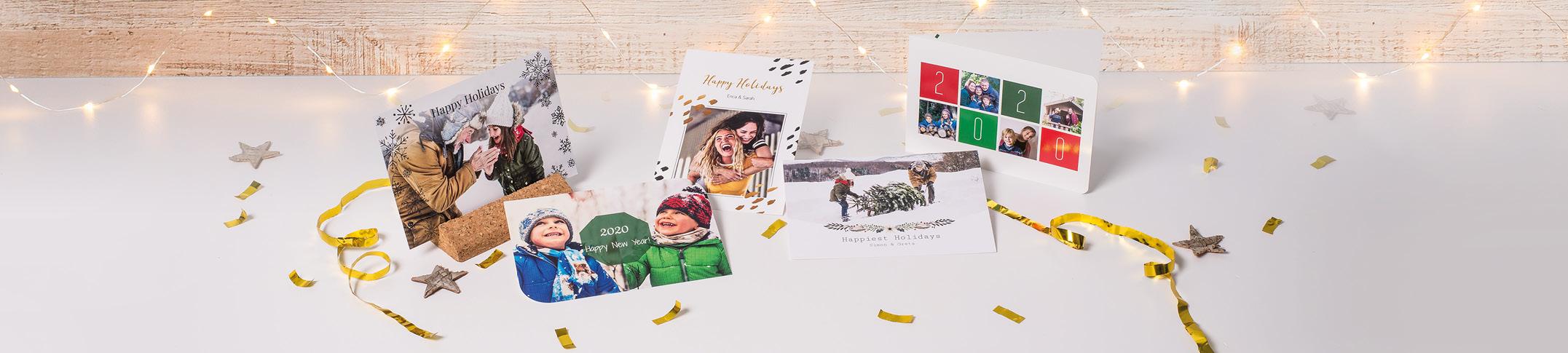 Nieuwjaarskaarten maken met foto's en tekst